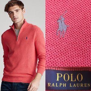 POLO RALPH LAUREN Half-Zip 100%Pima Cotton Sweater